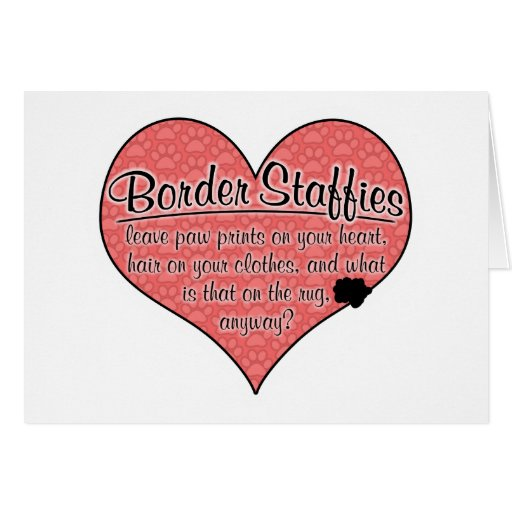 Border Staffy Paw Prints Dog Humor Cards