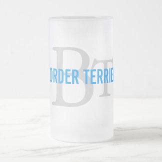 Border Terrier Breed Monogram Frosted Glass Beer Mug