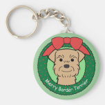 Border Terrier Christmas Basic Round Button Keychain