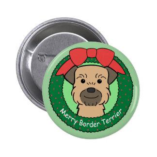 Border Terrier Christmas Button