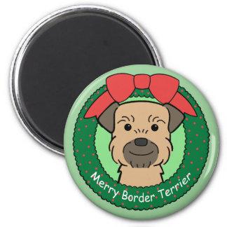 Border Terrier Christmas Magnet