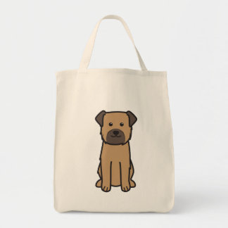 Border Terrier Dog Cartoon Grocery Tote Bag