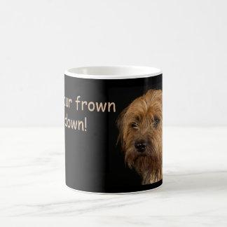 Border Terrier Dog White Mug, frown upside down Coffee Mug