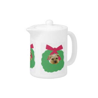 Border Terrier Holiday Wreath Teapot