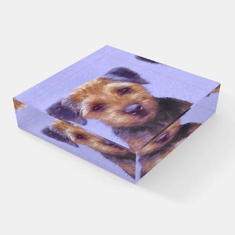 Border Terrier Painting - Cute Original Dog Art Paperweight