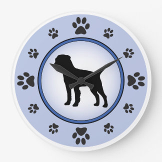 Border Terrier Silhouette Large Clock