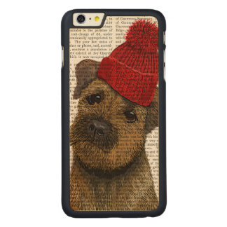 Border Terrier with Red Bobble Hat 3 Carved Maple iPhone 6 Plus Case