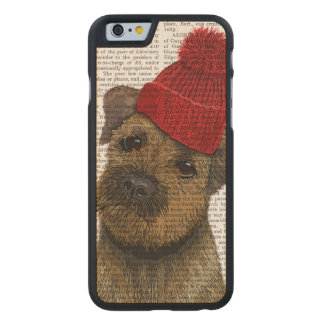 Border Terrier with Red Bobble Hat 3 Carved Maple iPhone 6 Slim Case