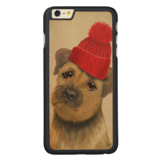 Border Terrier with Red Bobble Hat Carved Maple iPhone 6 Plus Slim Case