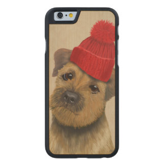 Border Terrier with Red Bobble Hat Carved Maple iPhone 6 Slim Case