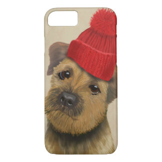 Border Terrier with Red Bobble Hat iPhone 8/7 Case