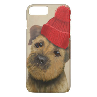 Border Terrier with Red Bobble Hat iPhone 8 Plus/7 Plus Case