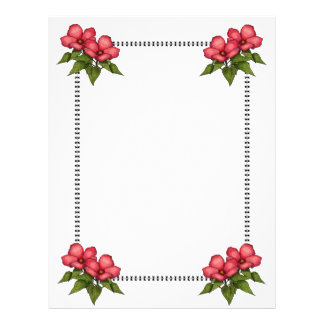Border With Pink Flowers: Original Art Letterhead