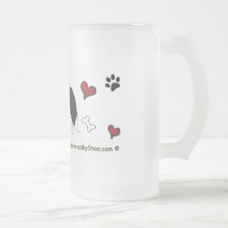 BorderCollie Frosted Glass Beer Mug