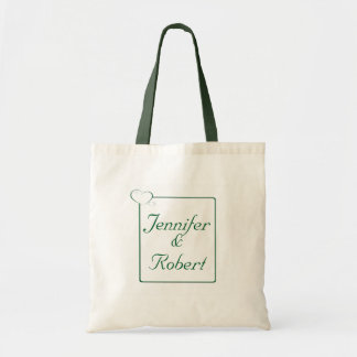 Bordered Hearts Emerald Tote Bags
