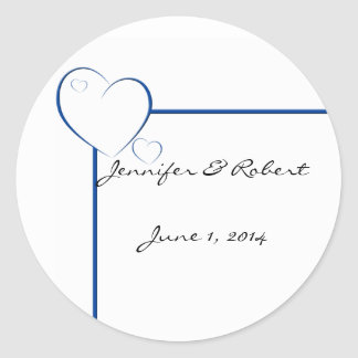 Bordered Hearts in Sapphire Blue Round Sticker