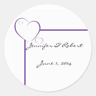 Bordered Hearts in Tanzanite Purple Stickers