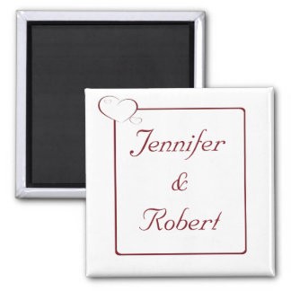 Bordered Hearts Ruby 2 Inch Square Magnet