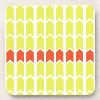 Bordered Yellow Panel Fence Drink Coaster