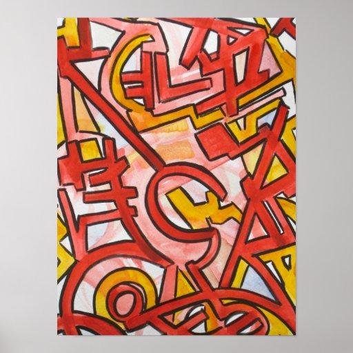 Bordes dentados - poster del arte abstracto