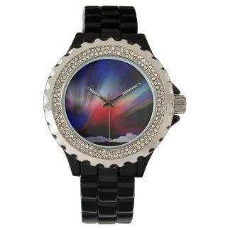 Borealis árticos dibujados mano de la aurora relojes de pulsera