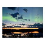 Borealis de la aurora del pleno verano sobre el la postal