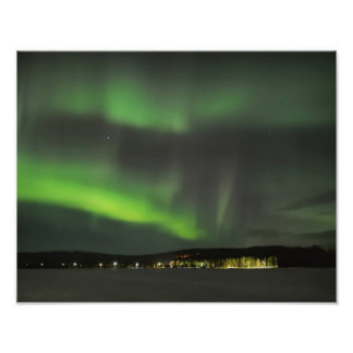 Borealis de la aurora en la impresión de la foto cojinete