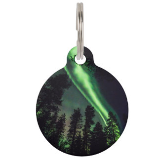 Borealis de la aurora en Laponia finlandesa Identificador Para Mascotas