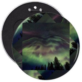 Borealis de la aurora en Laponia finlandesa Chapa Redonda 15 Cm