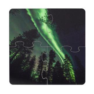 Borealis de la aurora en Laponia finlandesa Posavasos De Puzzle