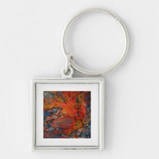 Borealis Silver-Colored Square Keychain