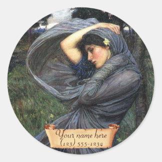 Boreas J W Waterhouse Pre-Raphaelite Bookplate Round Sticker