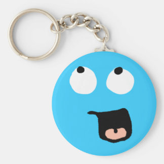 Bored Blue Smiley Keychain