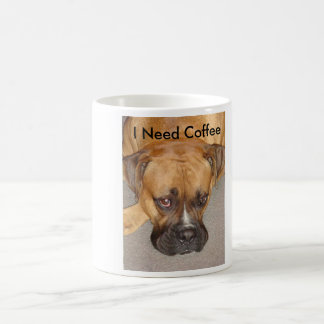 bored boxer, I Need Coffee Coffee Mug