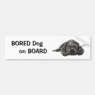 BORED DOG ON BOARD: Pencil Art Bumper Sticker