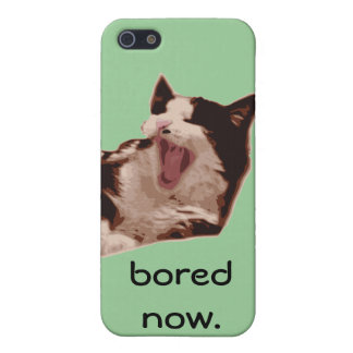 """""""Bored Now"""" Yawning Black & White Cat Cover For iPhone SE/5/5s"""
