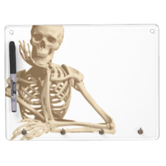 Bored Skeleton Dry Erase Board With Keychain Holder