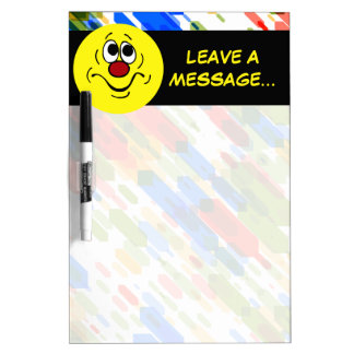 Bored Smiley Face Grumpey Dry Erase Board