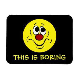 Bored Smiley Face Grumpey Vinyl Magnet