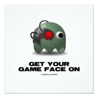 """Borg (Retro Avatar Game Face) 5.25"""" Square Invitation Card"""