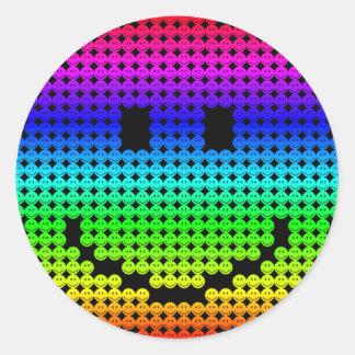 Borg Smiley Rainbow Classic Round Sticker