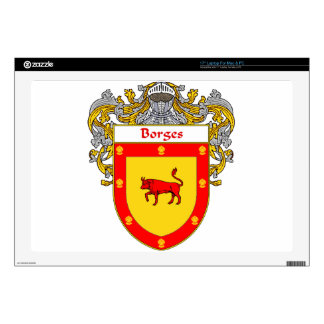 """Borges Coat of Arms/Family Crest Decal For 17"""" Laptop"""