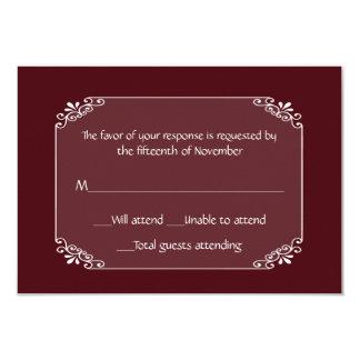 """Borgoña elegante de uso múltiple y tarjeta blanca invitación 3.5"""" x 5"""""""