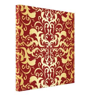 Borgoña, falso oro, damasco, vintage, elegante, impresión en lienzo