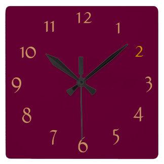 Borgoña llana+ Números del oro > reloj minimalista