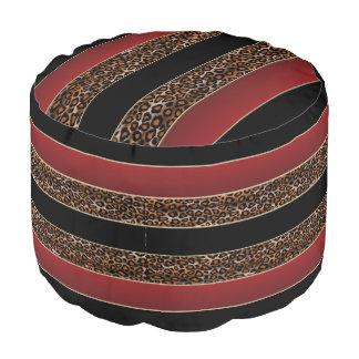 Borgoña, negro e impresión de Jaguar Puf Redondo