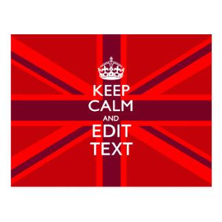 Borgoña roja guarda calma su bandera de Union Jack Tarjeta Postal