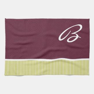 Borgoña y amarillo toallas de mano