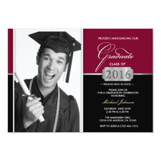 """Borgoña y clase moderna del negro de la graduación invitación 5"""" x 7"""""""