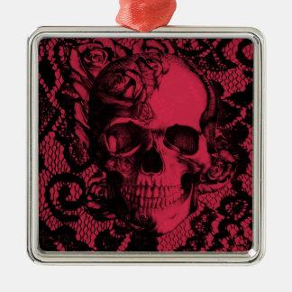 Borgoña y cráneo negro del cordón adorno navideño cuadrado de metal